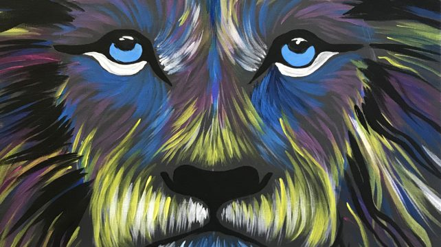 Lion painting with Brush Party