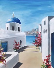 A painting class of a pretty Santorini landscape with whitewash buildings