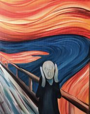 The Scream Acrylic Painting with Brush Party Online