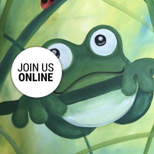 Painting of Freddy the Frog with Brush Party Family Events ONLINE